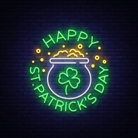 Happy St. Patricks Day Vector Illustration in Neon Style. Neon sign, greeting card, postcard, neon banner, bright night advertising, flyer. An invitation to celebrate St Patricks Day