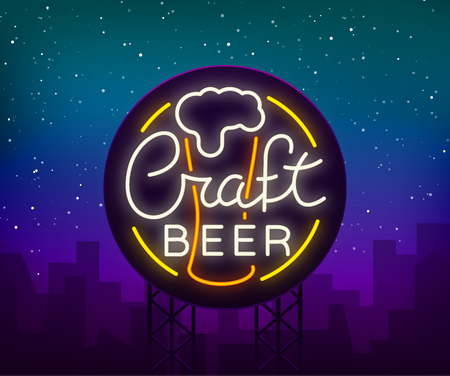 Original logo design is a neon-style beer craft for a beer house, bar pub, brewery brewery tavern, stuffing, pub, restaurant. Night beer advertising, neon glowing bright sign. 写真素材 - 95151089