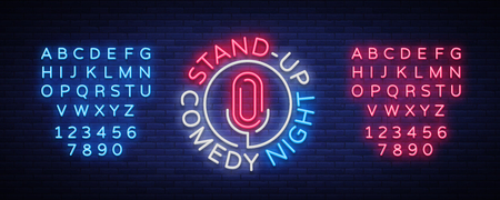 Stand Up Comedy Show is a neon sign. Neon logo, bright luminous banner, neon poster, bright night-time advertisement. Stand up show. Invitation to the Comedy Show. Vector. Editing text neon sign Vettoriali