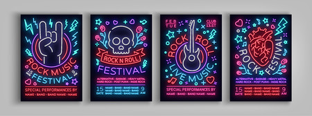 Rock Festival set of posters in neon style. Collection neon sign, an invitation to the concert brochure on roknrol music.