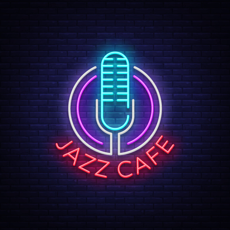 Jazz cafe is a neon sign. Symbol, neon-style logo, bright night banner, luminous advertising on Jazz music for Jazz cafe, restaurant, bar, party, concert. Design template. Vector illustration Illustration