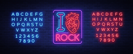 I love rock. Neon sign, bright banner, symbol, poster on the theme of rock n roll music, for a party, concert, festival, musical fest. Vector illustration. Editing text neon sign