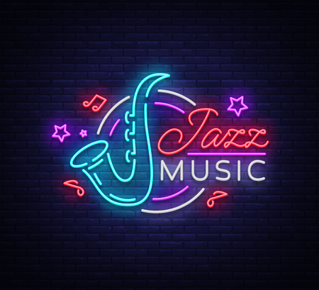 Jazz music is a neon sign. Symbol, neon-style logo, bright night banner, luminous advertising on Jazz music for Jazz cafe, restaurant, bar, party, concert. Design template. Vector illustration. Stock Illustratie