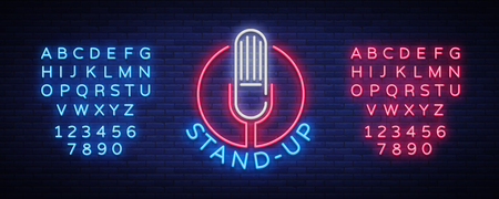 Comedy Show Stand Up invitation is a neon sign. Vectores