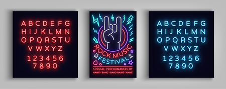 Rock festival poster in neon style. Neon sign, invitation to the concert brochure on roknroll music, bright banner, flyer for festivals, parties, concerts. Vector illustration. Editing text neon sign. Иллюстрация
