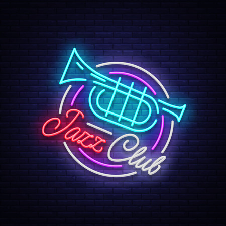 Jazz Club Neon Vector. Neon sign, Logo, Brilliant Banner, Bright Night Advertising for your projects on Jazz Music. Live music.