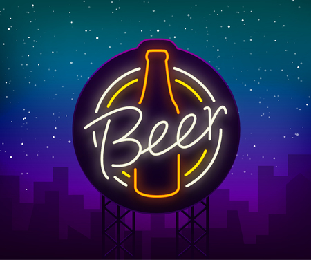 Original vintage retro design of a neon-style logo for a beer house, bar pub, brewery brewery, tavern stuffing pub restaurant.