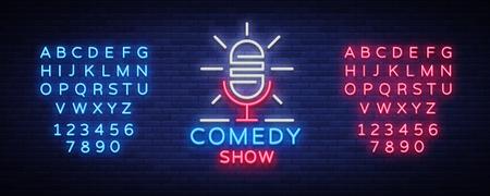 Icono de pie en estilo neón. El espectáculo de comedia es un letrero de neón, un símbolo, una invitación a una actuación de comedia, un cartel luminoso, un cartel de neón, publicidad nocturna. Ilustración vectorial Edición de letrero de neón de texto.