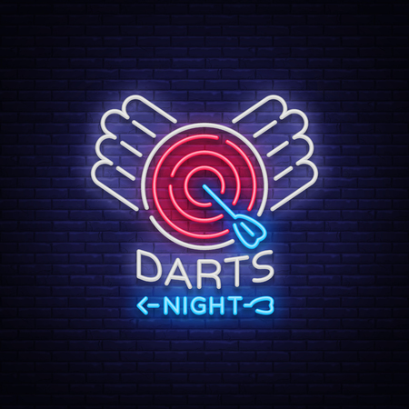 Darts neon sign. Vector illustration. 版權商用圖片 - 95531588