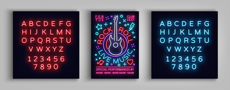 Rock n roll live music. Typography,Editable Poster, Flyer  Design template for rock festival, concert, party. Vector illustration.