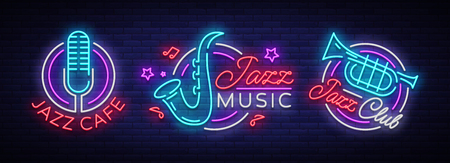 Jazz music collection neon signs. Symbols, collection of logos in neon style, bright night banner, luminous advertising on Jazz music for Jazz cafe, restaurant, party, concert. Vector illustration. Stock Illustratie