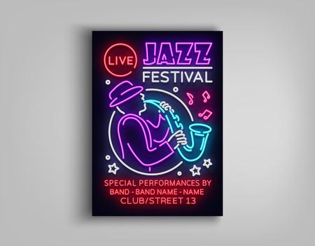 Jazz Festival Poster Neon style brochure, Design invitation template, Vector illustration