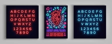 Invitation to Rock Festival. Typography, poster in neon style. Flyer design template for rock festival, concert, party, live music. Music rock and roll. Vector illustration. Editing text neon sign. 向量圖像