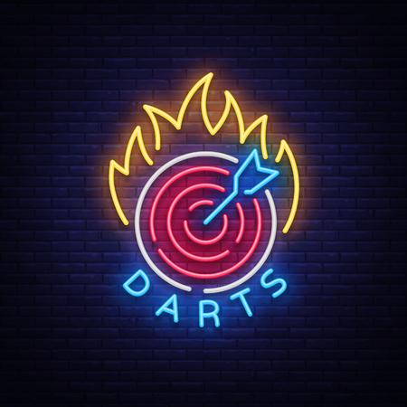 Darts in Neon Style. Neon Sign, Bright Night Advertising, Light Banner. Vector illustration.
