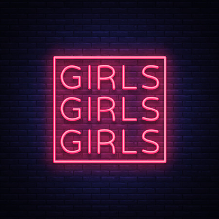 Girls neon sign Vector illustration on black background.