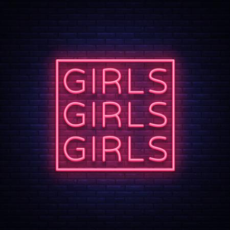 Girls neon sign Vector illustration on black background.