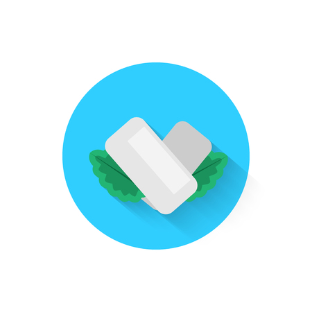 Chewing gum with mint leaves is an icon icon isolated. Vector illustration for your projects