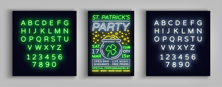 St. Patricks Day Party Poster. Design template typography in neon style. Illustration
