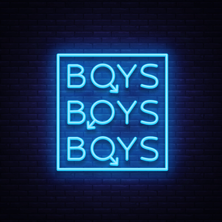 Boys neon sign. LGBT. Gay show Night sign for gay club. Adult show. Vector illustration. Vettoriali