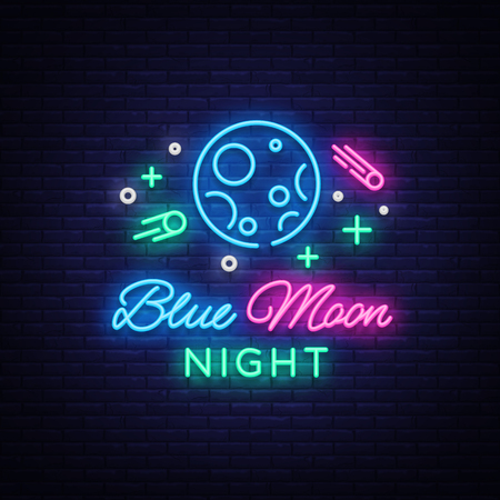 Blue Moon Night Club Logo in Neon Style.