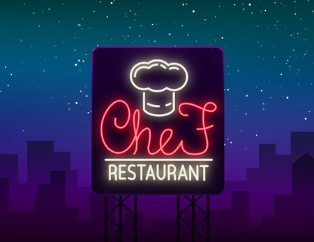 Chef restaurant logo, sign, emblem in neon style.