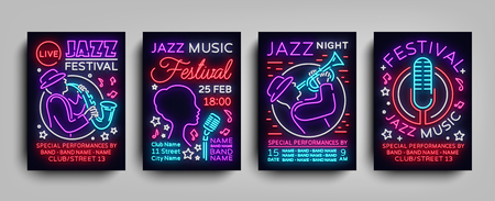 Jazz Festival posters Neon Collection.