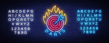 Darts Logo in Neon Style. Illustration