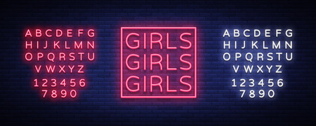 Girls neon sign. Illustration