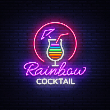 Cocktail logo in neon style. Stock Illustratie