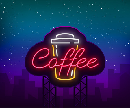 Coffee neon sign logo vector illustration, emblem in neon style, bright night sign, night advertisement of coffee. Billboard. Vectores