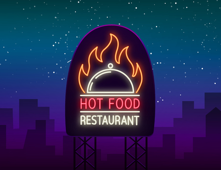 Logo of hot food restaurant, neon sign, logo, emblem isolated Vector illustration. Bright luminous sign. This logo is suitable for restaurant, spicy dishes, barbecue parties and much more. Billboard.