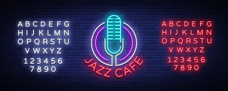 Jazz cafe  neon sign. Symbol, neon-style logo, bright night banner, luminous advertising on Jazz music for Jazz cafe, restaurant, bar, party, concert. Vector illustration.