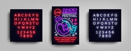 Jazz festival poster neon sign. Neon style brochure, design invitation template. Light banner, nightly advertisement festival, party, concert vector illustration editing text neon sign.
