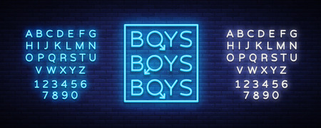 Boys neon sign, LGBT, Gay show Night sign for gay club. Adult show vector illustration editing text neon sign.
