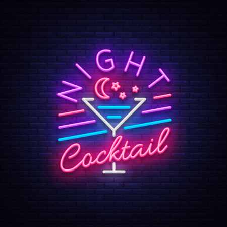 Night cocktail is a neon sign. Cocktail icon, neon style, light banner. Bright neon advertising for cocktail bar, party, pub, alcohol vector illustration.
