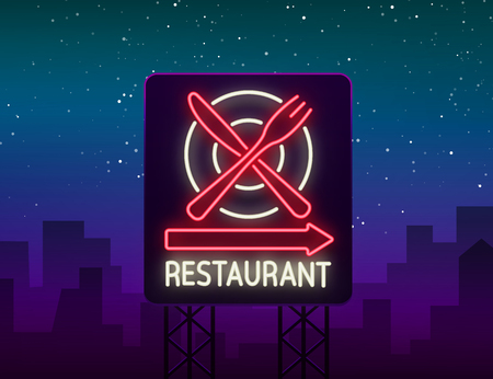 Glowing neon advertisement of restaurant, cafe snack bar and other institutions.
