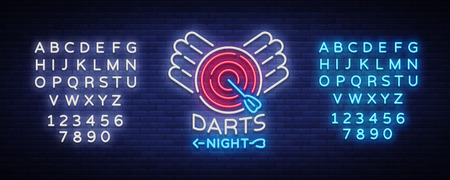 Darts neon sign. Vector illustration. Bright nightly Darts advertising, neon logo, symbol, lightweight banner, design template for your projects. Editing text neon sign.