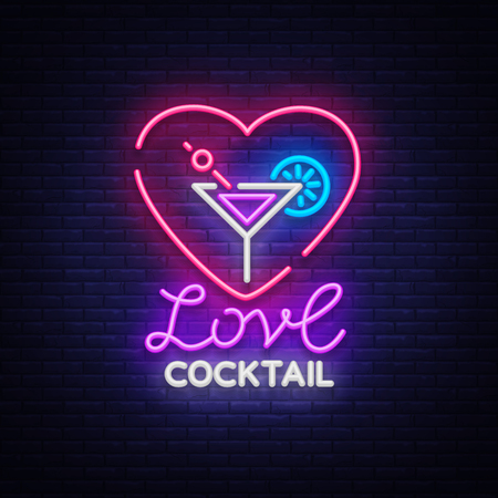 Cocktail logo in neon style. Love Cocktail  Neon sign, Design template for drinks, alcoholic beverages.   Vector illustration.