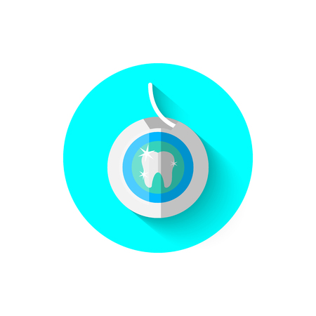 Dental floss icon, illustrated in flat design style vector illustration. Modern icon of dentistry. Website and design for mobile applications and other your projects