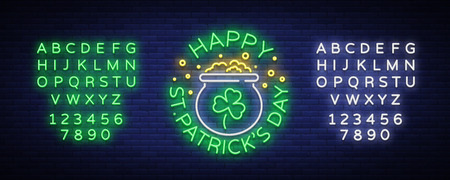 Happy St. Patricks Day Vector Illustration in Neon Style. Neon sign, greeting card, postcard, neon banner, bright advertising, flyer. Invitation to celebrate St Patricks Day. Editing text neon sign. Illusztráció