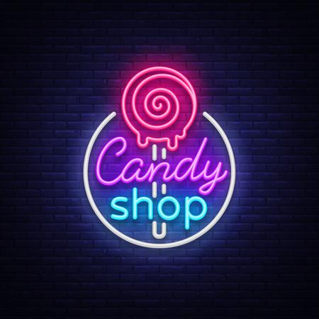 Logo sklepu ze słodyczami w neonowym stylu. Sklep ze słodyczami neonowy znak, baner świetlny, jasna neonowa nocna reklama słodyczy. Zaprojektuj szablon dla swoich projektów. Ilustracja wektorowa.