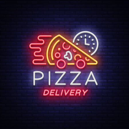 Delivery pizza neon sign. Logo in neon style, light banner, luminous symbol, bright night neon advertising food delivery for restaurant, cafe, pizzerias, dining. Italian cuisine. Vector illustration.