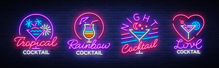 Cocktail collection logos in neon style. Collection of neon signs, Design template on the theme of drinks, alcoholic beverages. Vector illustration.
