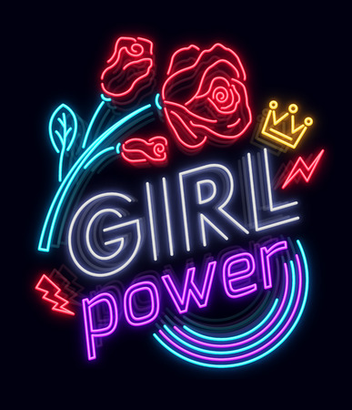 Rock print and slogan vector. Girl Power For T-shirt or other purposes. Symbol of feminism for printing in a neon style with flowers . Womens fashion slogan