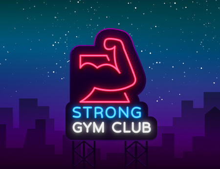 Logotype gym sign in neon style isolated vector illustration. A glowing sign, a nightly bright neon advertisement of the gym, fitness club, sports club and for your other projects. Billboard Illustration