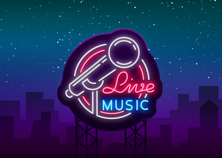 Live musical vector neon logo, sign, emblem, symbol poster with microphone. Bright banner poster, neon bright sign, nightlife club advertising, karaoke, bar and other institutions. Billboard. Illustration