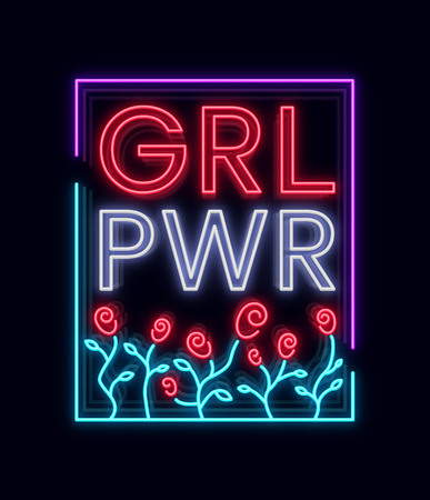Typographical slogan with roses vector for printing on a T-shirt. Neon sign Symbol, illustration on the theme of feminism. Retro style neon typography. Fashion slogan. Vector illustration.