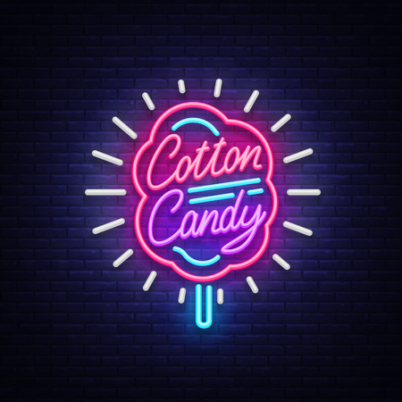 Cotton candy logo in neon style symbol banner light, bright cotton candy night advertising, billboard. Design template. Vector illustration