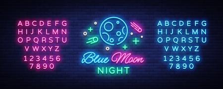 Blue Moon Night Club Logo in Neon Style Vector illustration.