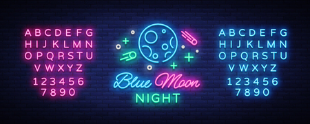 Blue Moon Night Club Logo in Neon Style Vector illustration.